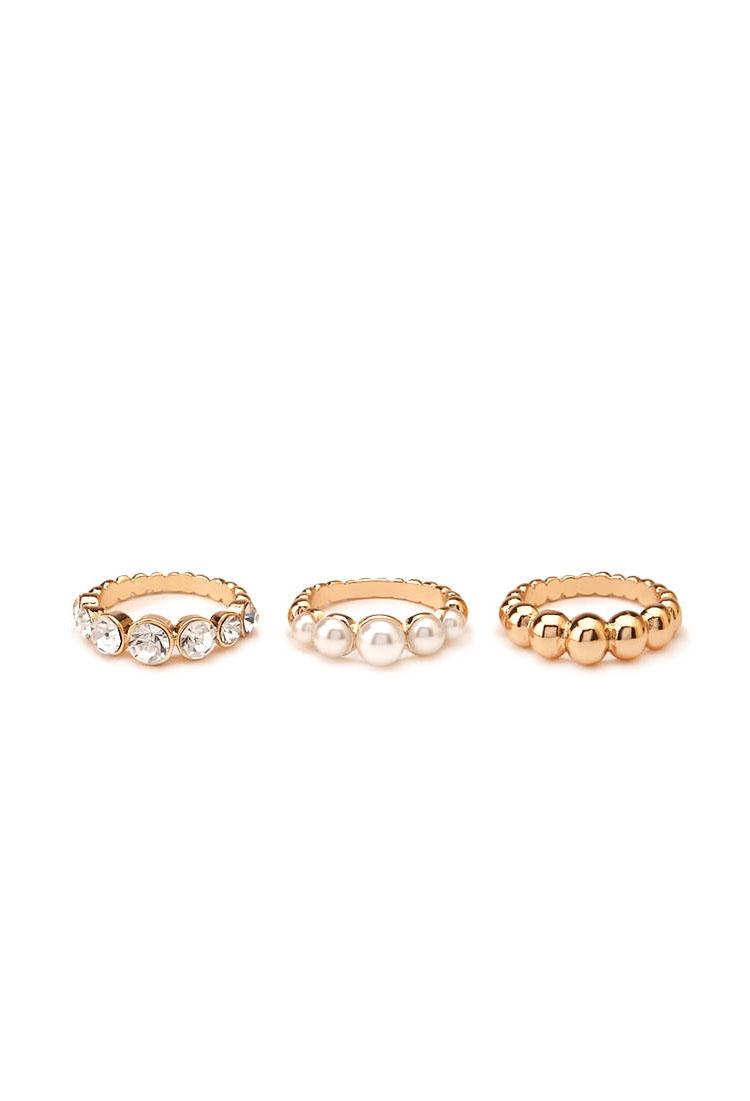 Faux Pearl & Rhinestone Ring Set