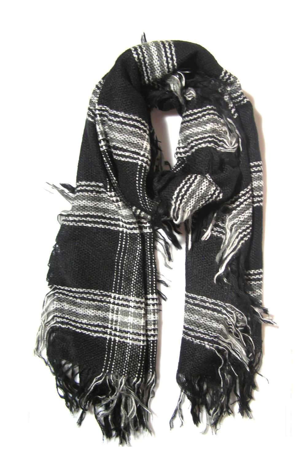 Checkered Scarf With Fringes αξεσουαρ