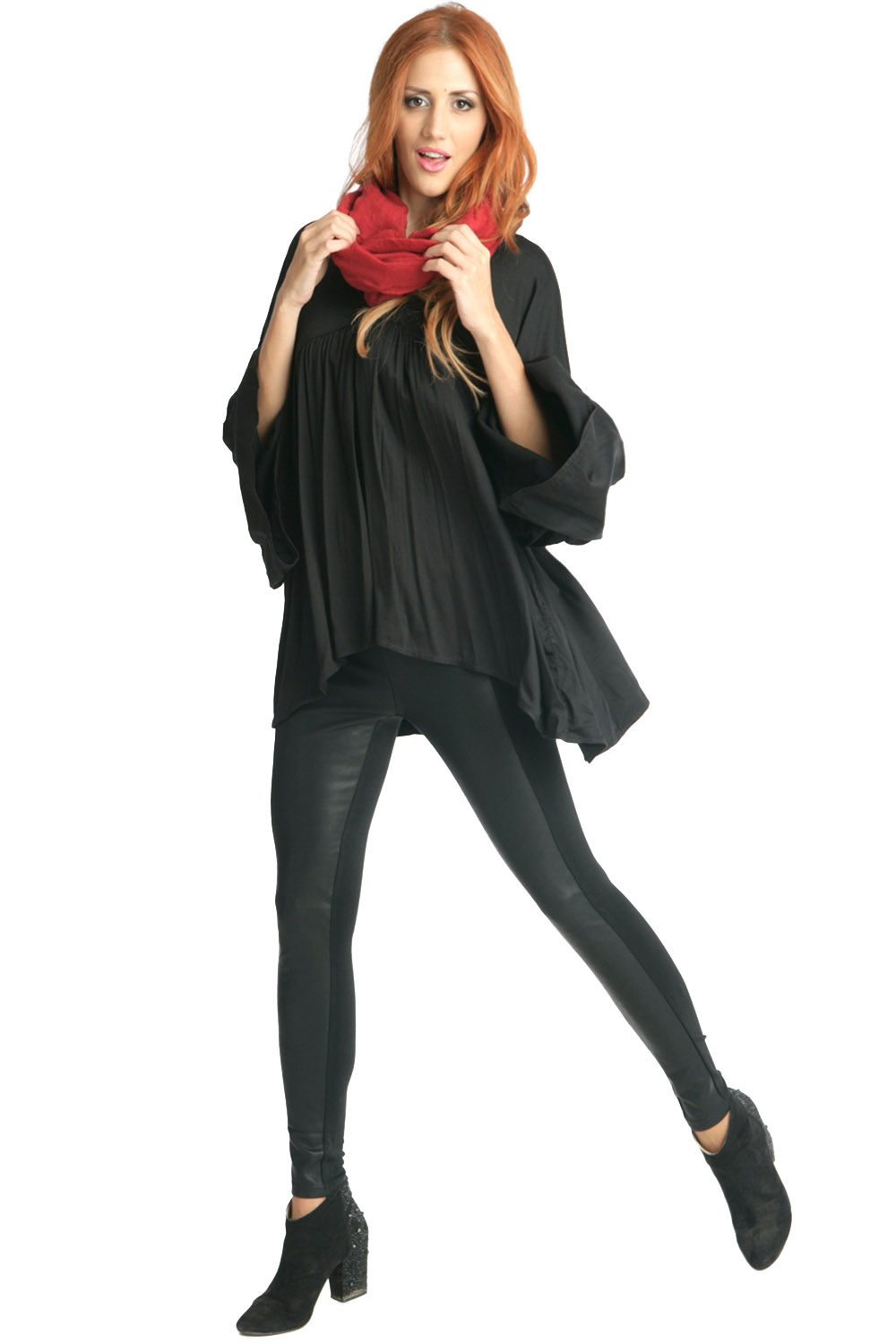 Black Leggings With Faux Leather Panels ρουχα   παντελόνια   κολάν