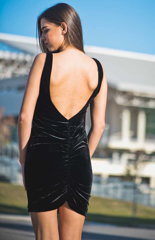Backless Velvet Dress ρουχα